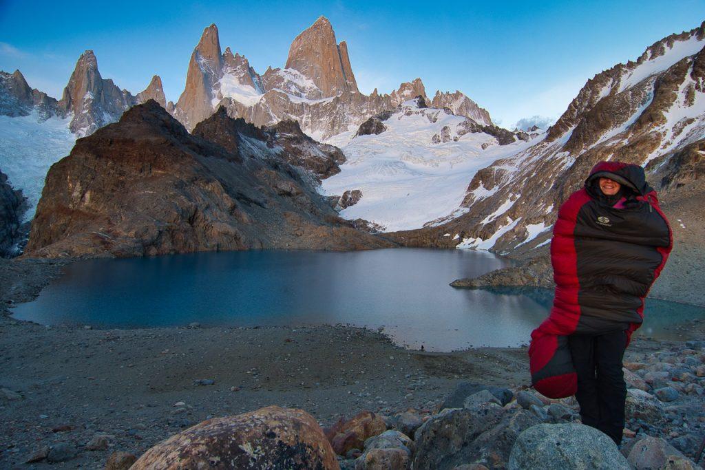péřový spacák Sir Joseph v Patagonii