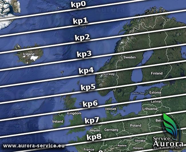 Mapa solární aktivity polární záře