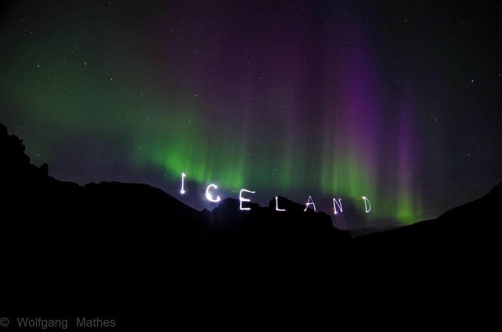 Northern lights above Reykjadalur valley