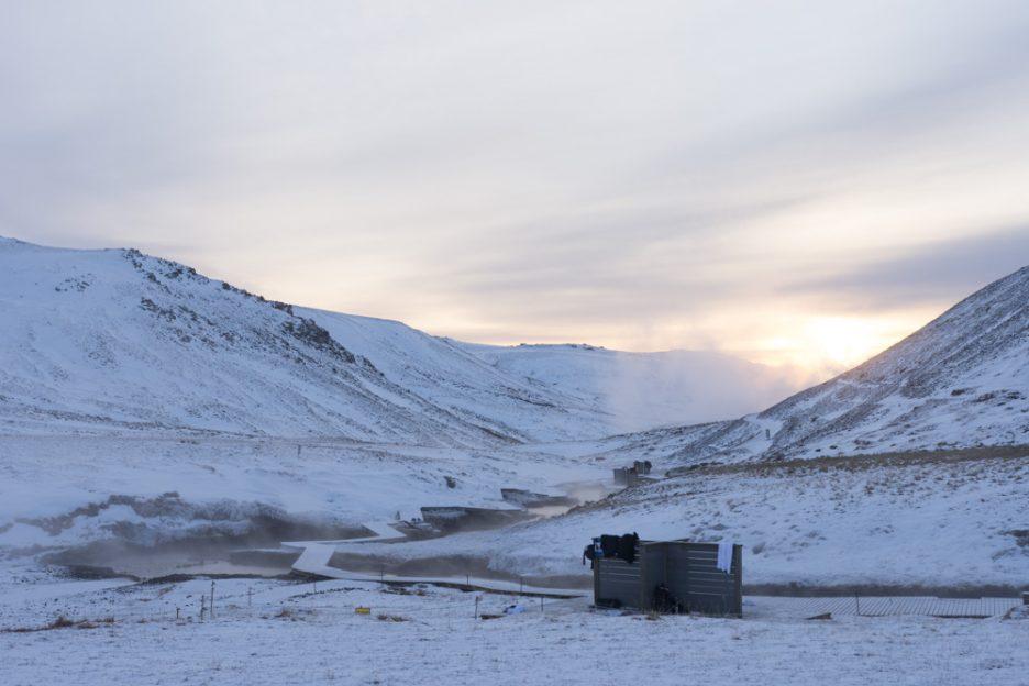 Reykjadalur Hot River in the Winter