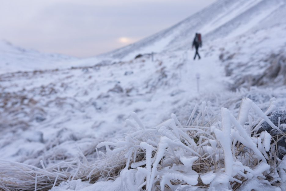Hiking in Iceland in winter