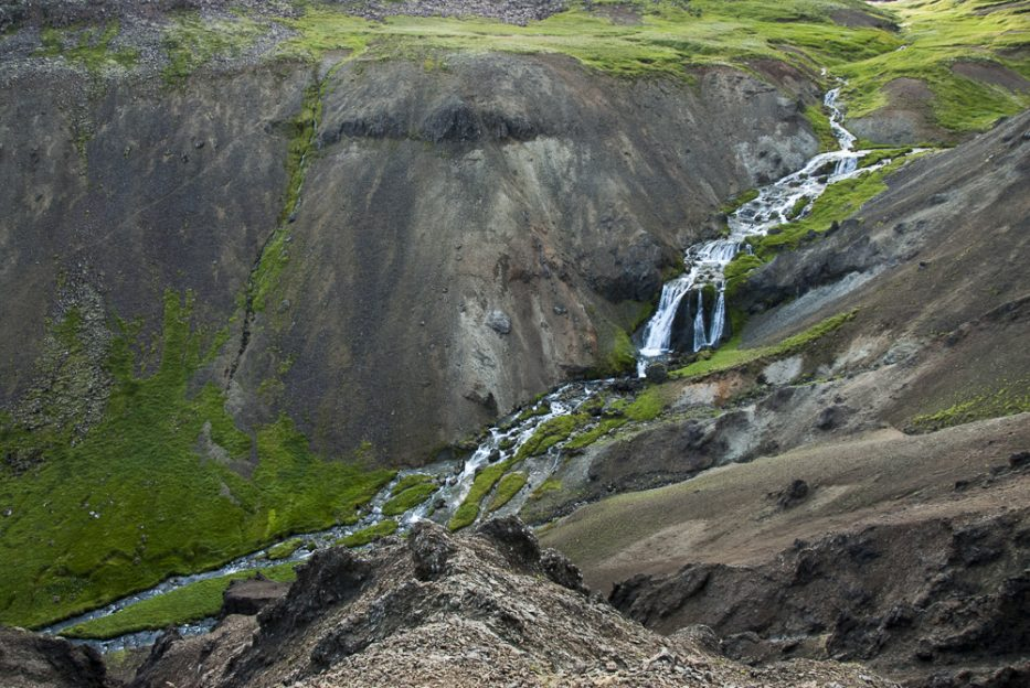 Djúpagilsfoss waterfall on the way to Reykjadalur Hot Springs in the South of Iceland