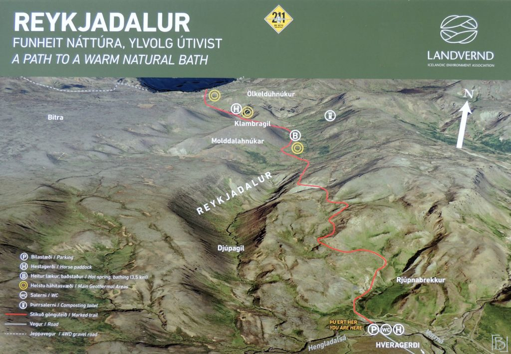 Map of the hiking trails in Reykjadalur Valley close to Hveragerdi in South Iceland