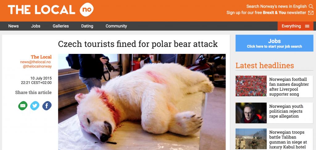 Útok ledního medvěda na české turisty