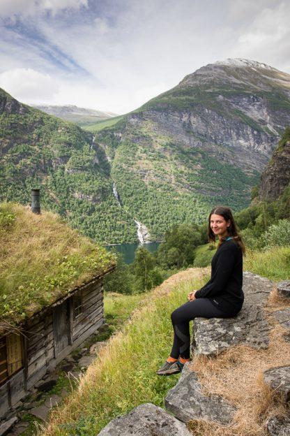 Enjoying moments alone in Sageflå mountain farm in Geirangerfjord