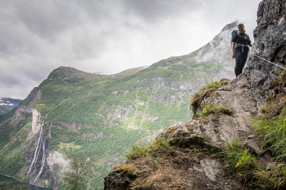 Hiking to Skageflå mountain farm in Geirangerfjord