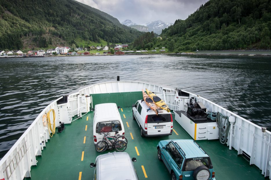 Ferry crossing a fjord in Norway