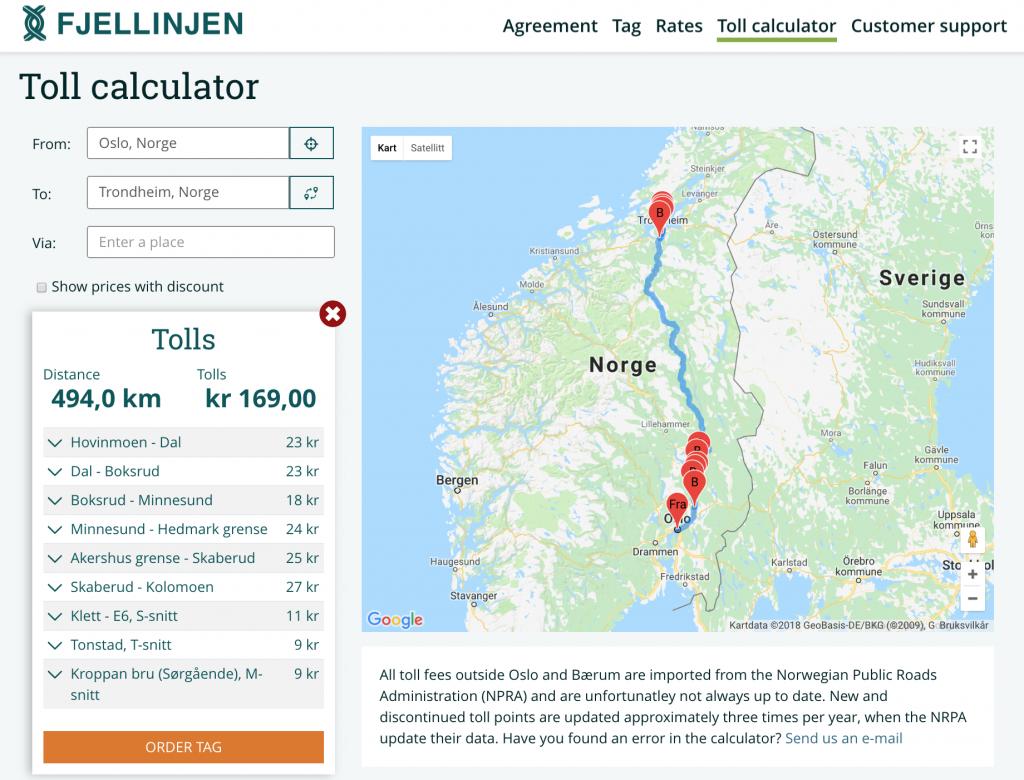 Výpočet ceny mýtného v Norsku