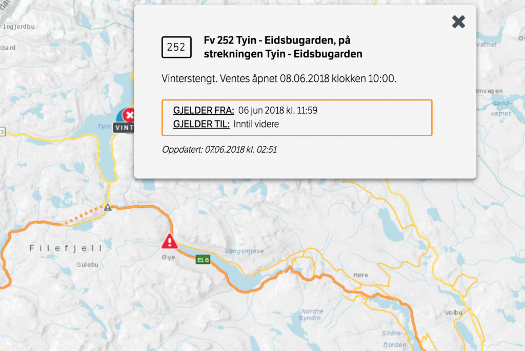 Uzavřené sinice v Norsku