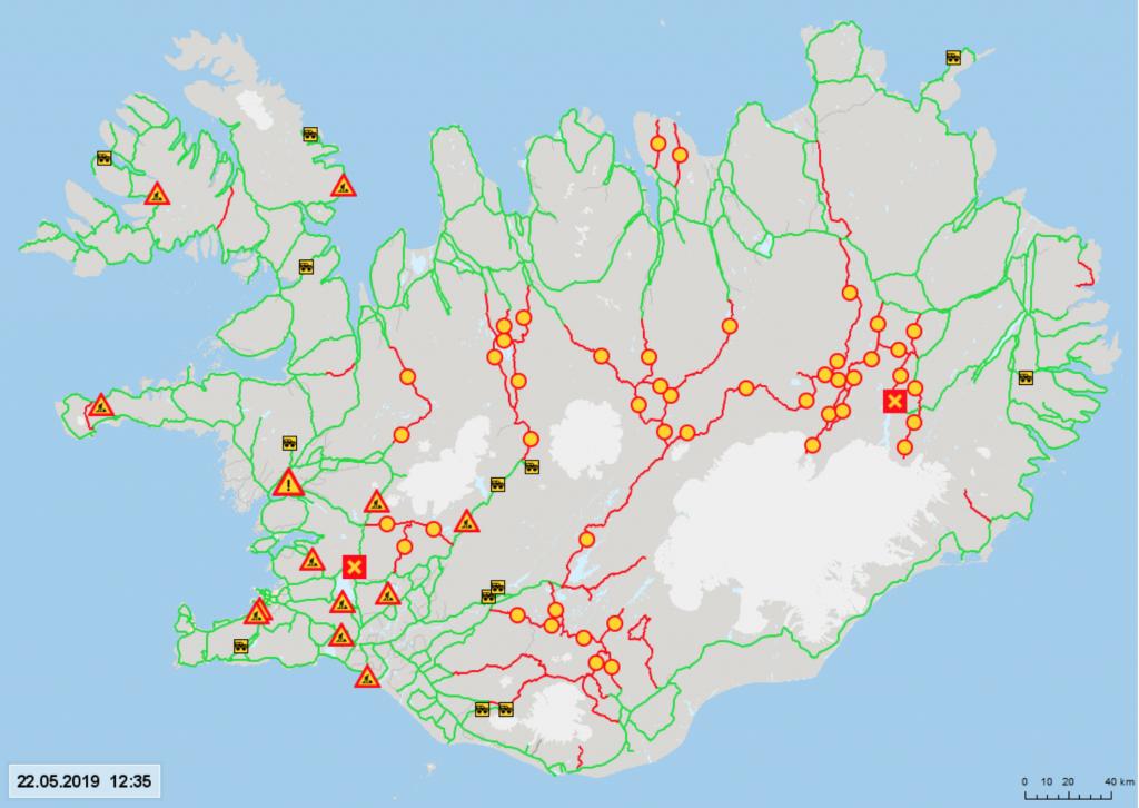 Aktuální mapa sjízdnosti silnic na Islandu včetně uzavřených F roads ve vnitrozemí