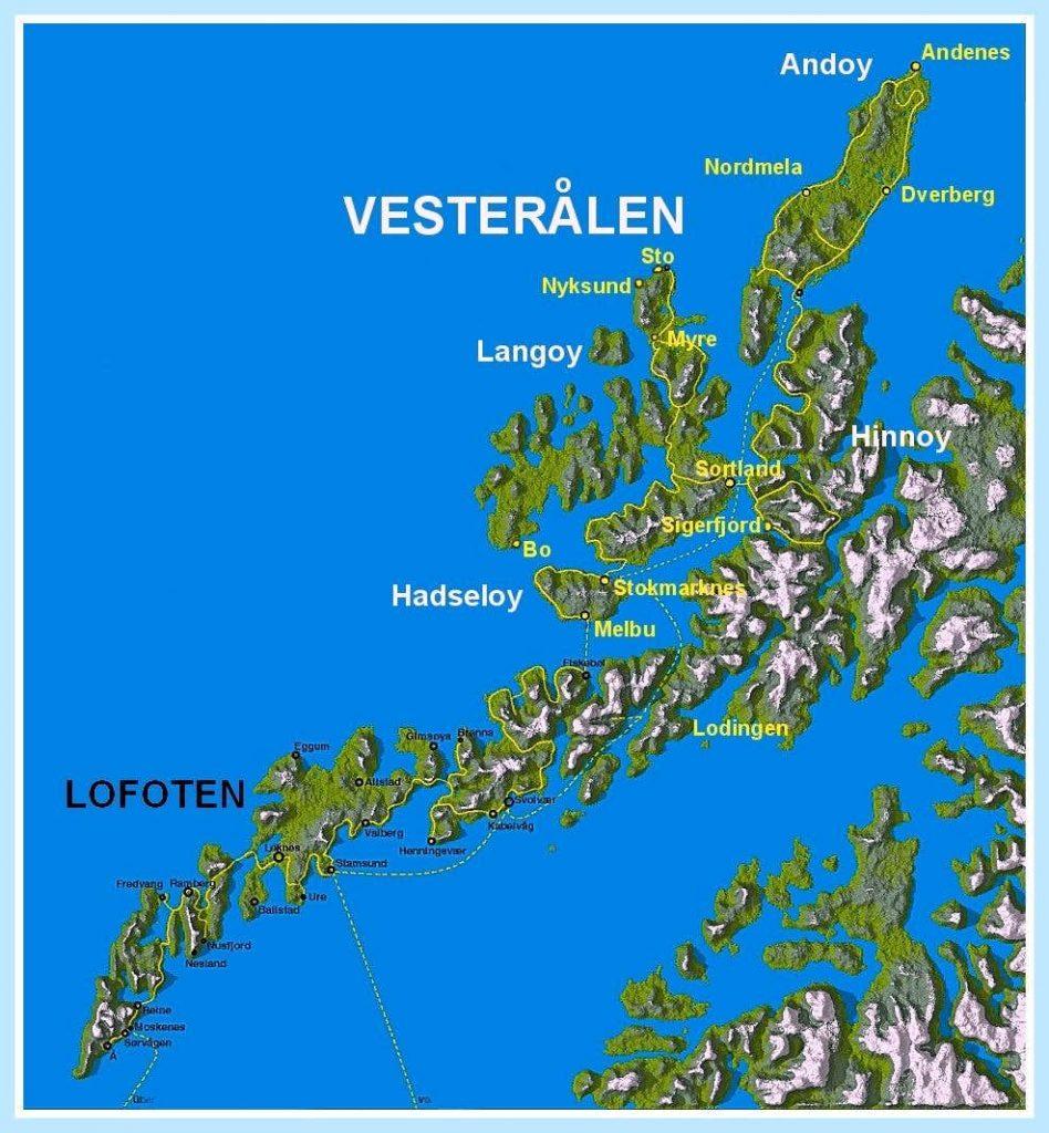 Lofoty a Vesterály mapa