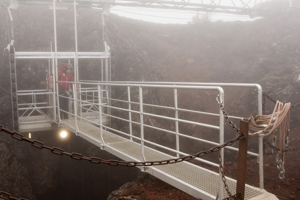 Elevator that takes tourists down into an empty magma chamber in a Thríhnúkagígur volcano in Iceland