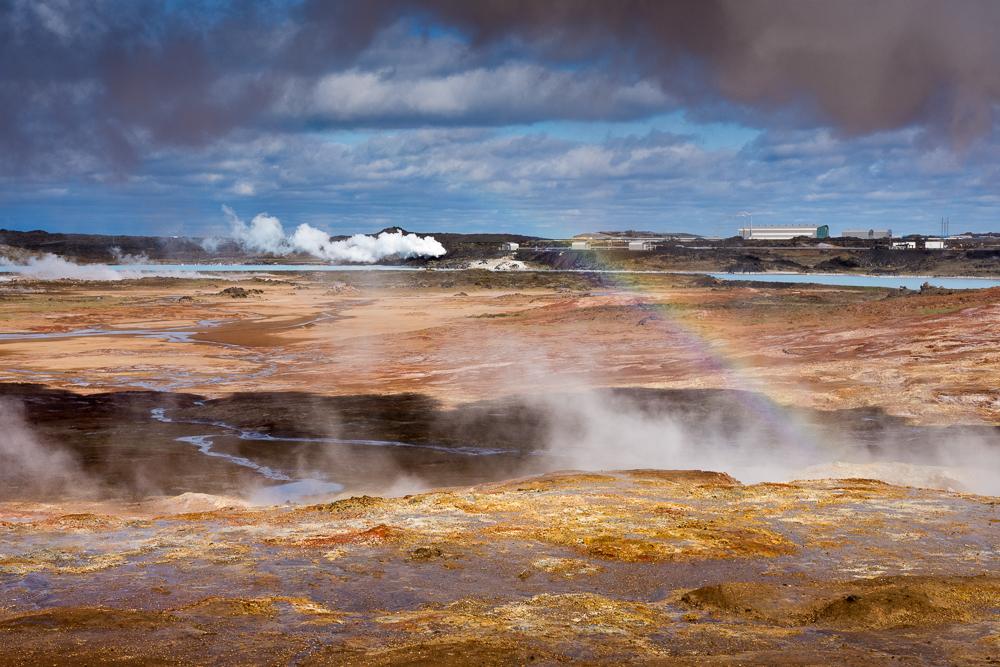 geotermální oblast Gunnuhver, poloostrov Reykjanes