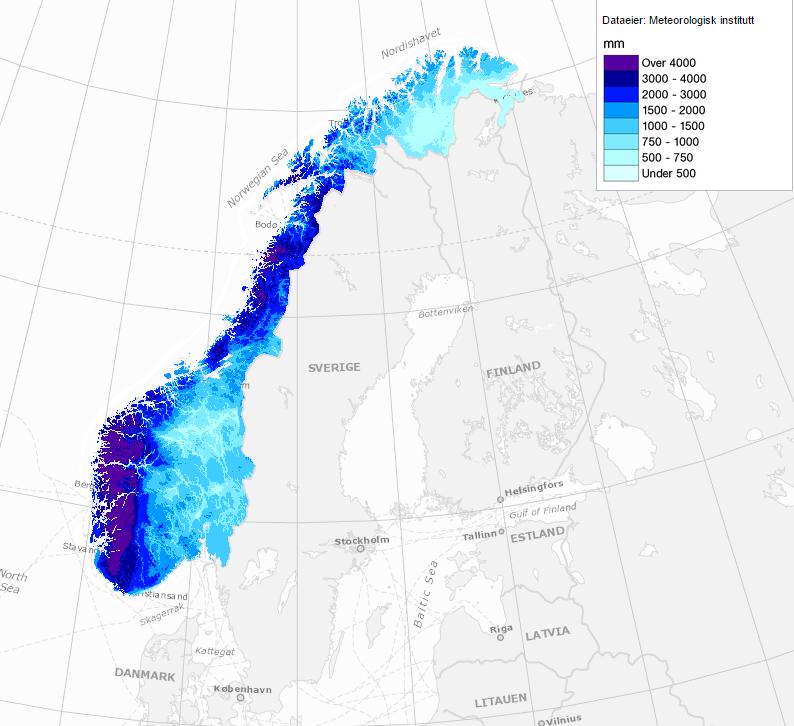Počasí v Norsku: Průměrné roční srážky