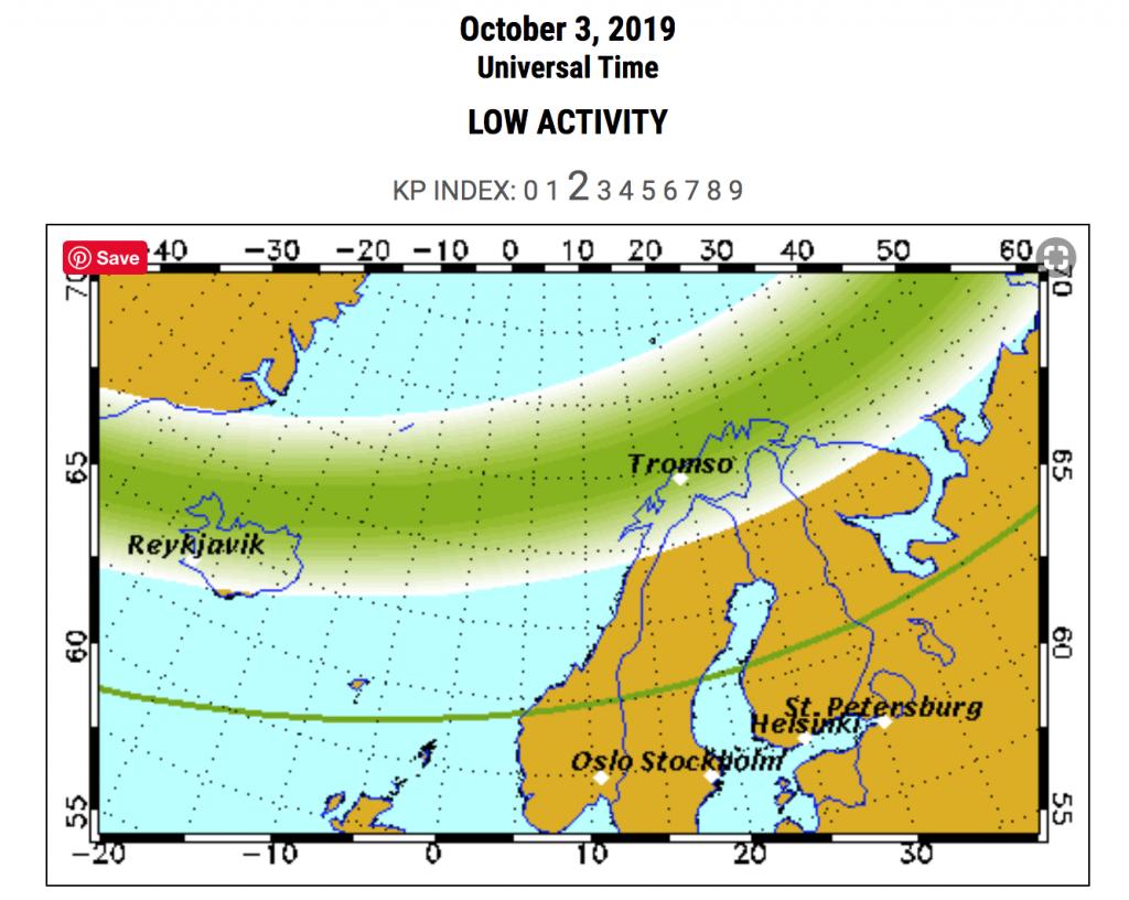 Kde je možné v Norsku pozorovat polární záři při Kp2