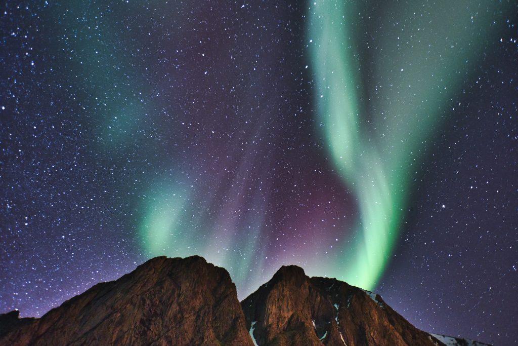 Polární záře v Norsku na Lofotech