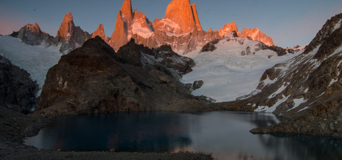 FAQ Pan-American Highway title - sunrise at Mt Fitz Roy, Patagonia