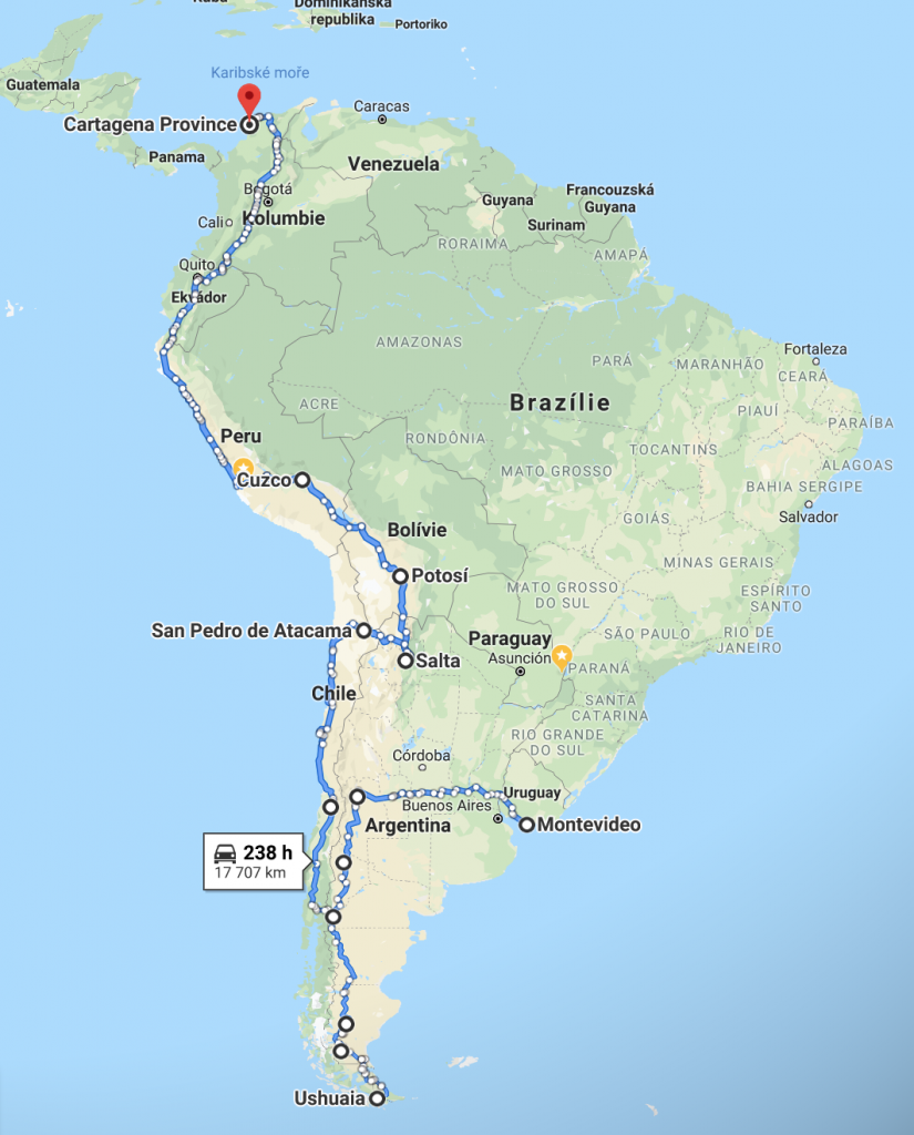Panamerická dálnice v Jižní Americe