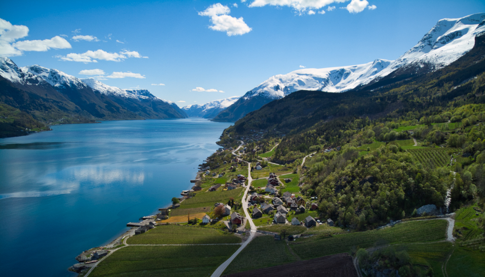 The aerial view of Agatunet cluster farms and fruit orchards on the shores of Hardangerfjord in Norway