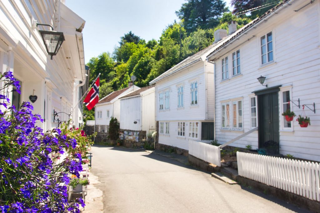 Sogndalstrand village in southern Norway